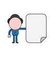 businessman character with blank paper color and vector image