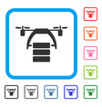 cargo drone framed icon vector image vector image