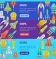 cartoon space ship or rocket banner horizontal set vector image