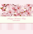 cherry flowers branch happy women day card vector image vector image