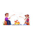 children rest at campfire together marshmallow bbq vector image vector image