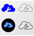 cloud wrench eps icon with contour version vector image vector image