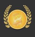 coin of virtual currency bitcoin icon golden vector image vector image