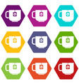 cup of tea icon set color hexahedron vector image vector image