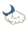 cute cloud with moon kawaii character vector image