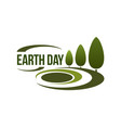 Earth day icon for green nature ecology vector image