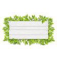 empty white wooden sign with tree branch vector image vector image