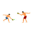 father playing beach tennis with boy in sand vector image vector image
