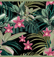 ficus palm leaves and pink orchid flowers pattern vector image vector image