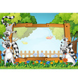 Frame design with lemur in the garden vector image vector image