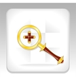 Gold magnifier icon or button with plus vector image