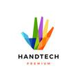hand tech colorful geometric polygonal logo icon vector image vector image