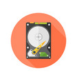 hdd disk flat design isolated round icon vector image vector image