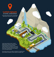 isometric street urban elements on 3d map vector image