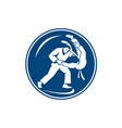 Judo Combatants Throw Circle Icon vector image vector image