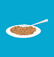 lentil porridge in plate and spoon isolated vector image
