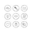 love heart kiss and wedding rings icons vector image