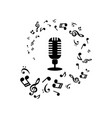 music notes and microphone on white background vector image vector image