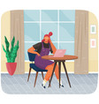 office woman at desk with tablet pc businesswoman vector image vector image