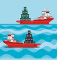 oil industry with ship freighter vector image vector image
