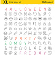 One hundred Halloween thematic linear icons set vector image vector image