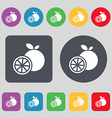 orange icon sign A set of 12 colored buttons Flat vector image