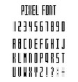 pixel alphabet letters and number set pixeled vector image