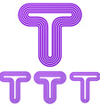 Purple line t logo design set vector image vector image