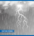 realistic rain with clouds and lightning on vector image