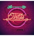 Retro Neon Tattoo Sign with Arrow vector image