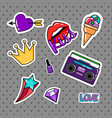 retro style stickers set vector image vector image
