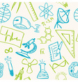 Science drawings on seamless pattern vector image vector image