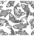 Seamless pattern with decorative fish Background vector image vector image