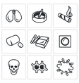 Set of Smoking and Cancer Icons Lungs vector image vector image