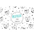 smile cats faces card vector image