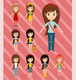 street fashion girls models wear style fashionable vector image