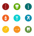 tooth doctor icons set flat style vector image vector image