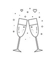 two glasses champagne line art icon vector image vector image