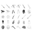 types of weapons monochromeoutline icons in set vector image vector image