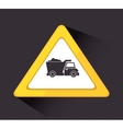 Under construction drump truck vector image
