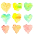 Watercolor heart shaped stains isolated on white vector image vector image