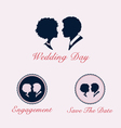 Wedding couple profile silhouette and cameo vector image vector image