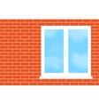 Window into a brick wall vector image