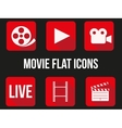 Movie square icons set vector image