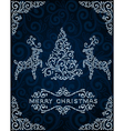 Christmas card with abstract pinetree and deers vector image
