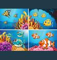 fish swim under the ocean vector image