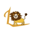 Cute zoo alphabet in L letter Funny vector image
