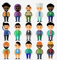 set of smiling characters in cartoon style vector image