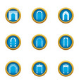 alley icons set flat style vector image vector image