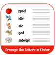 arrange letters in order with pictures vector image vector image